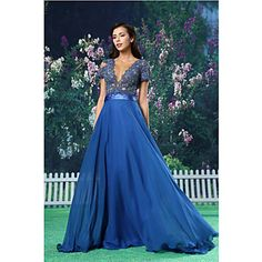 Formal Evening Dress - Royal Blue A-line Jewel Floor-length Chiffon / Lace / Satin - USD $ 129.99