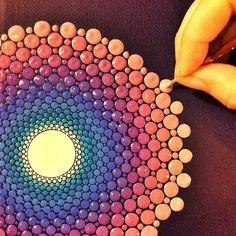Mandala by Elspeth McLean Mandala Dots, Mandala Pattern, Mandala Design, Dot Art Painting, Painting Patterns, Stone Painting, Mandalas Painting, Mandalas Drawing, Zentangle