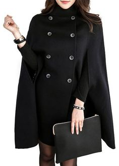 Double Breasted Solid Black Cloak Long Coat
