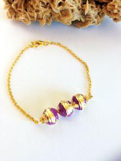 Bracciale minimale con perle di carta viola e oro Bead_03