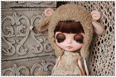 Light Brown Sheep hat For Blythe by AngelGardenByChilly on Etsy, $25.00