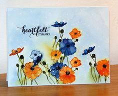Poppies orange et bleu by Micheline Jourdain - Cards and Paper Crafts at…
