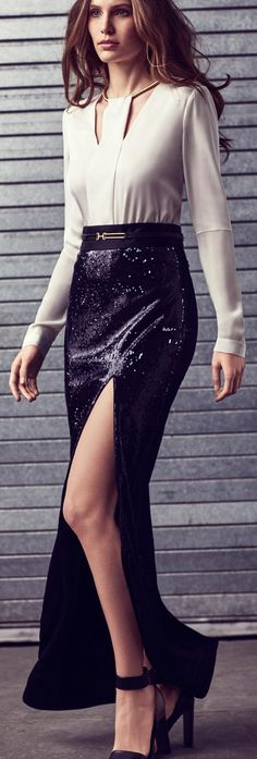 Women's fashion | Halston Heritage slit sequined maxi skirt