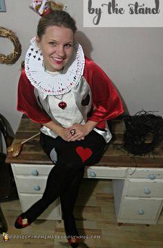 Super Inexpensive Queen Of Hearts Adult Costume Homemade Halloween Costumes, Adult Halloween Party, Halloween Costume Contest, Creative Halloween Costumes, Halloween Outfits, Cool Costumes, Adult Costumes, Halloween Ideas, Costume Party Themes