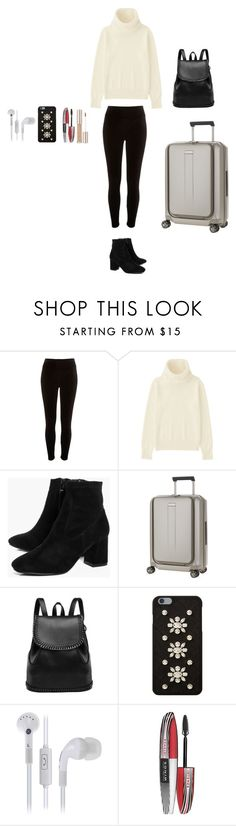 """""""holiday traveling"""" by emmalish on Polyvore featuring River Island, Uniqlo, Boohoo, Samsonite, MICHAEL Michael Kors and L'Oréal Paris"""