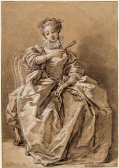 "Drawing of a Young Woman, dressed à ""l'Espagnole"", by François Boucher (1703-1770) c 1750. Musée du Louvre.  The ruff around her throat and the full sleeves are what makes this ""Spanish"", at least in the artist's mind. I also like the authority with which she's wielding her fan."
