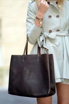 Square Bags and Khaki Trench coats