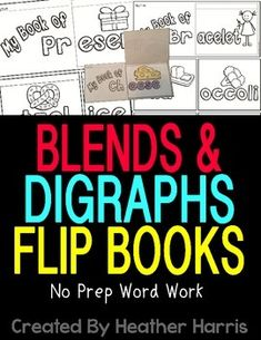 Students will love showing off their learning! Excellent for literacy centers. Consonant Blends-bl-, br-, cl-, cr-, dr-, fl-, fr-, gl-, gr-, pl-, pr-, sl- and tr-Digraphs--ch, ch-, -ck, -sh, sh-, -th, th- and wh-21 booklets. All black and white for easy printing and almost no prep.