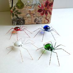 Handmade Medium Hanging Xmas Spiders Red White by SpiderwoodHollow