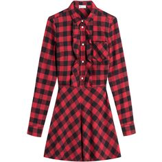 RED Valentino Plaid Shirt Dress (765 BAM) ❤ liked on Polyvore featuring dresses, vestidos, red, short dress, short red dress, red mini dress, plaid shirt dress, long sleeve shirt dress and cotton shirt dress