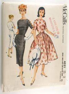 McCall's 4521 Vintage 1950s Dress Pattern Bust 36 Slim Sheath or Full Skirt