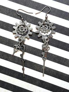 Steampunk Clock Hand Earrings