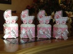 Mini diaper cake set of 4 baby girl carriage by InspiredbyElena