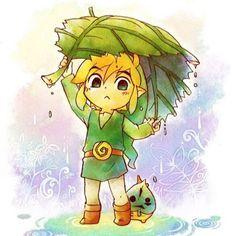 The Legend of Zelda - Wind Waker. Link and Makar under a deku leaf Wind Waker, Sword Art Online, The Legend Of Zelda, Link Zelda, Geeks, Link Chibi, Pokemon, Pikachu, Anime Lindo
