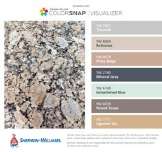 I found these colors with ColorSnap® Visualizer for iPhone by Sherwin-Williams: Tinsmith (SW Reticence (SW Pinky Beige (SW Mineral Gray (SW Embellished Blue (SW Poised Taupe (SW Ligonier Tan (SW Paint Color App, Living Colors, Matching Paint Colors, Diy Carpet Cleaner, Beige Carpet, Green Carpet, Modern Carpet, Interior Paint Colors, Carpet Colors