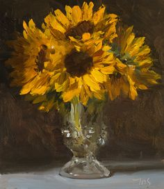 Vase of sunflowers A Daily painting by Julian Merrow-Smith Flowers In Vase Painting, Seashell Painting, Paintings Of Sunflowers, Sunflower Paintings, Sunflower Vase, Still Life Flowers, Mini Canvas Art, Painted Vases, Easy Paintings