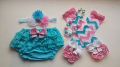 Pink,Turquoise, & White Chevron Legwarmers Bloomers Headband and Necklace Set, birthday,newborn, toddler, infant, baby girls sets by BottomsNBows on Etsy https://www.etsy.com/listing/218424701/pinkturquoise-white-chevron-legwarmers