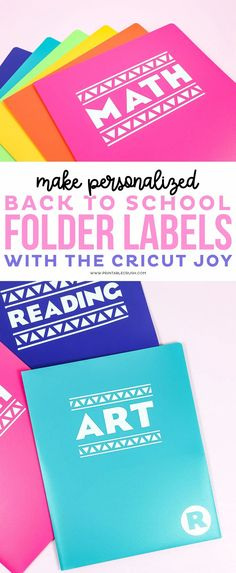 Back to School Folder Labels Tutorial - Printable Crush #backtoschool #cricutjoy #cricutmade #cricut project School Fun, School Days, Back To School, Personalized School Supplies, File Folder Labels, Cricut Tutorials, Cricut Ideas, School Folders, School Supplies Organization