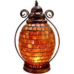 Sophisticated Modern and Traditional Mosaic Glass Shade Hurricane Lamp ($36) ❤ liked on Polyvore featuring home, lighting, european lighting, amber glass lamp, mosaic lighting, colorful lights and multi colored lights