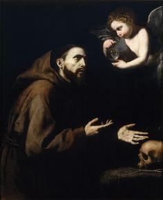 Ribera, José de (Spanish) - Vision of Saint Francis of Assisi Technique Óleo.  Support Lienzo. Dimensions 120 cm. x 98 cm. Date1636-1638  Date 1636 - 1638. Madrid, Museo Nacional del Prado