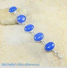 Handmade Oval Blue Agate Women 925 Sterling Silver Bracelet MA-375