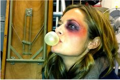 Maggie Lawson backstage with her character Keira's black eye makeup after Keira asks Louis to hit her to give her a real black eye so she can gain sympathy and continue her scheme. Maggie Lawson, Psych Cast, James Roday, Black Eye Makeup, Backstage, Halloween Face Makeup, Eyes, Gain, Pretty