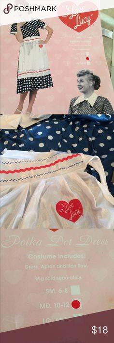 I Love Lucy Halloween Costume Size M New Fits Medium 10-12, Never Worn Includes Polka Dot Dress- White I Love Lucy Apron- White hair bow, removed from package for photos only - just FYI this is typical Costume shop quality So for very light use & maybe just a couple of wears - Happy Halloween 🎃 Dresses