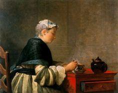 Su esposa tomando el te. Jean Simeón Chardin. 1735. Universidad de Glasgow.