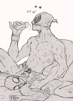 Deadpool I'd just eating his chimichunga while playing with his spider