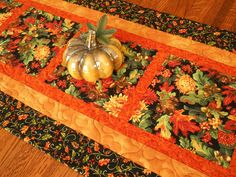 Autumn Table Runner with Fall Flowers and Leaves, Quilted Fall Table Runner…