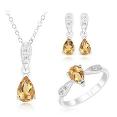 $19.99 - 2.5 Carat Citrine and Sterling Silver Teardrop Pendant, Earrings & Ring Set With 1/10 Carat Diamond Accents