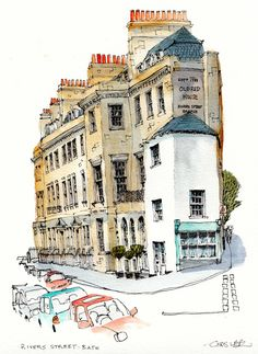 Rivers Street, Bath, by Chris Lee Watercolor Architecture, Architecture Drawings, Classical Architecture, Travel Sketchbook, Art Sketchbook, Building Illustration, Pen And Watercolor, Urban Sketchers, Sketch Painting