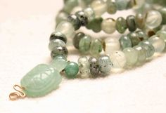 Jade Turtle with Kyanite and Prehnite Necklace by QuietMind, $65.00