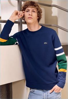 Model Sven de Vries sports a color blocked pullover by Lacoste. Lacoste Men, Mens Fashion, Fashion Outfits, Sport Casual, Men's Collection, Mens Sweatshirts, Knitwear, Shirt Designs, Fashion Clothes