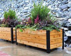 ModelGardeningCo on Etsy Planter Box Plans, Cedar Planter Box, Raised Planter, Long Planter Boxes, Cedar Box, Vertical Planter, Fence Planters, Outdoor Planters, Cedar Raised Garden Beds