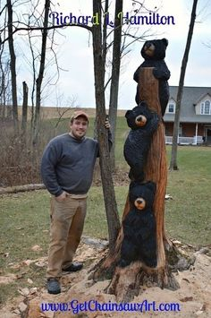 We make our Bears with Personality! Unique Bears ranging from one foot to eight feet. Chainsaw Wood Carving, Wood Carving Art, Wood Carvings, Wood Sculpture, Sculptures, Black Bear Decor, Bear Statue, Bear Drawing, Tree Carving