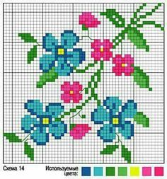Wildflower forget-me-not cross stitch.