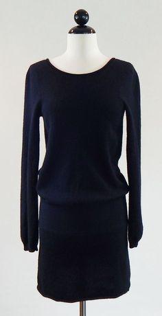 AQUA BRAND NORDSTROM 100% Cashmere Black Knit Low Back Sweater Dress Size S #Aqua #SweaterDressBlouson #Casual