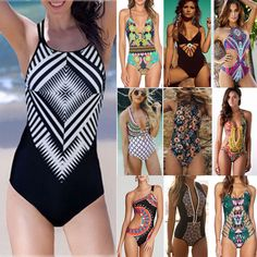 $6.64 - Women One Piece Bikini Swimsuit Boho Padded Monokini Swimwear Beach Bathing Suit #ebay #Fashion