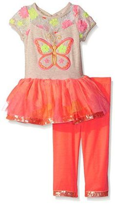Rare Editions Baby Girls Butterfly Tutu Legging Set OatmealCoral 12 Months *** Check this awesome product by going to the link at the image. (This is an affiliate link)