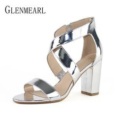 4f60498cf87803 Women Sandals Summer Shoes High Heels Open Toe Ankle Strap Shoes Woman  Thick Heel Plus Size Sandals Female Gold Free