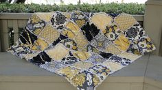 Baby Rag Quilt, Aviary 2 in Granite, yellow, grey, white and black birds and flowers, Perfect for gender neutral Baby Shower Gift on Etsy, $75.00