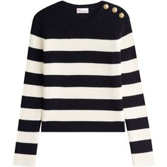 R.E.D. Valentino Wool Pullover (€265) ❤ liked on Polyvore featuring tops, sweaters, shirts, valentino, stripes, white sweaters, striped shirt, wool shirt, stripe shirt and nautical striped shirt