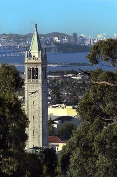 Scenic view of UC Berkeley Campanile with San Francisco and the bay in the background.