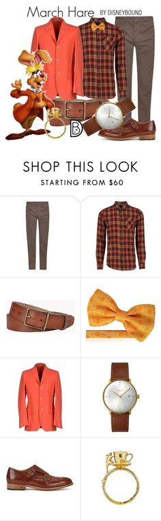 """March Hare"" by leslieakay ❤ liked on Polyvore featuring Massimo Alba, Volcom, Dsquared2, Brooksfield, Junghans, Paul Smith, Alex Monroe, men's fashion, menswear and disney"