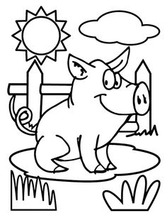 "Pig coloring page via crayola.com. Color while singing ""Old McDonald""!"