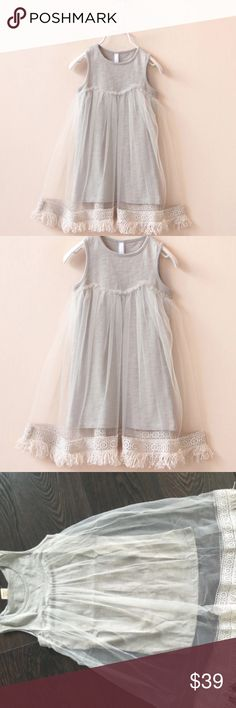 💕SUPER cute girls dress gray with sheer fringe HOLIDAY SALE!!💕SUPER cute girls dress gray with sheer fringe MULTIPLE SIZES Dresses