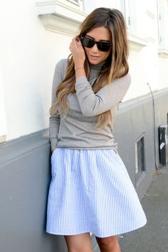 Striped skirt with grey turtleneck | Stone Muse, June 2014