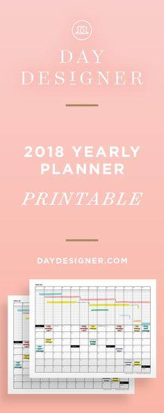 The 2018 Yearly Planner: An effective tool to map out your year and create a visual of your upcoming plans! Includes four worksheets: one per quarter, dated Q1 through Q4, featuring 53 weeks. The top section of each quarterly page features a horizontal calendar which can be used for notes, travel, events, or creating a Gantt chart. The lower portion of each quarterly page features a corresponding vertical calendar.   Day Designer Printable Planner, Free Printables, Quarterly Calendar, Glam Planning, Daily Planner Pages, Gantt Chart, Timeline Design, Day Designer, Meet The Teacher