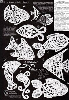 Diversi schemi di pesci come motivo dell'uncinetto irlandese. Ma possono costituireanche delle presine o piccoli e originali centrini.  fonte:http: